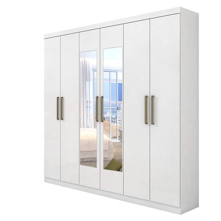 Guarda-Roupa-Com-Espelho-e-Pes-6-Portas-3-Gavetas-Jazz-Branco---Lopas