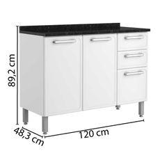 Balcao-de-Aco-3-Portas-2-Gavetas-com-Tampo-7124-Gourmet-Bertolini-Branco