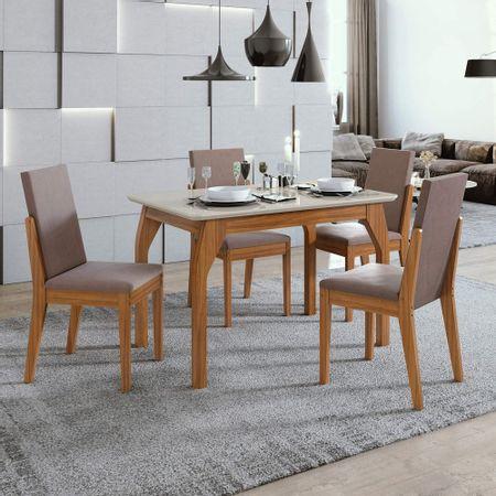 Conjunto-Mesa-Sala-de-Jantar-Saara-Rovere-Off-White-com-4-Cadeiras-Lira-Rovere-Naturale---Lopas
