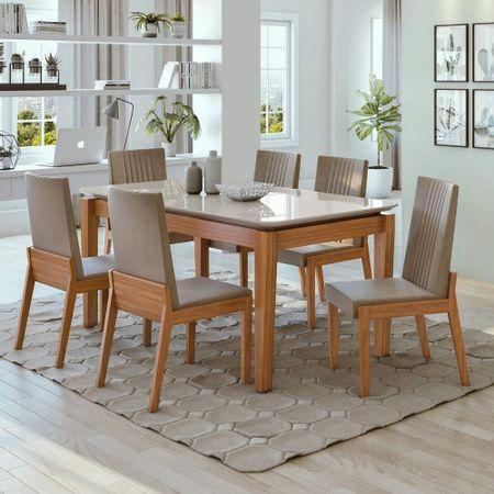 Conjunto-Mesa-Aries-180-Tampo-Vidro-6-Cadeiras-Rovere-Naturale-Suede-Animale-Bege---Moveis-Lopas