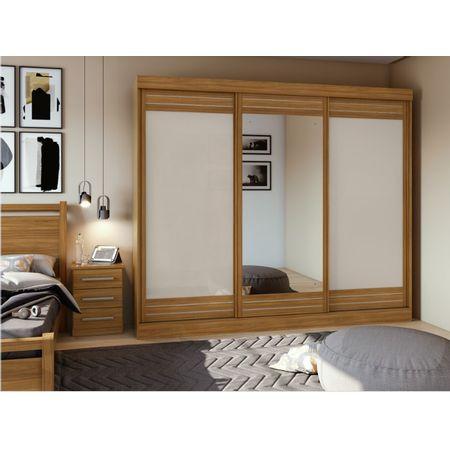 Guarda-Roupa-Casal-Com-Espelho-3-Portas-4-Gavetas-Speciale-Rovere-Naturale-off-White-Moveis-Lopas
