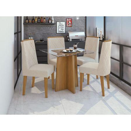 Conjunto-Jantar-Mesa-Tampo-De-Vidro-Celebrare-4-Cadeiras-Privilege-Moveis-Lopas-Rovere-Naturale