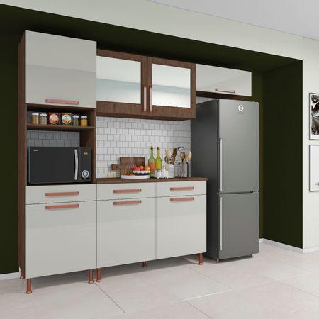 Cozinha-Indekes-Completa-Gold-4-Pecas-Com-Porta-De-Vidro-Reflecta-Noce-Off-White
