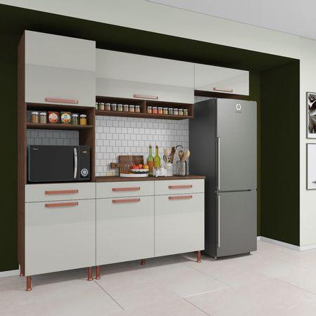 Cozinha-Indekes-Completa-Gold-4-Pecas-Sem-Vidro-Noce-Off-White