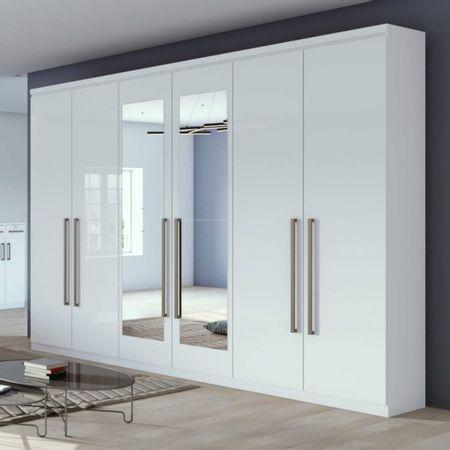 Guarda-Roupa-Casal-Com-Espelho-6-Portas-4-Gavetas-Alonzo-New-Branco-Lopas