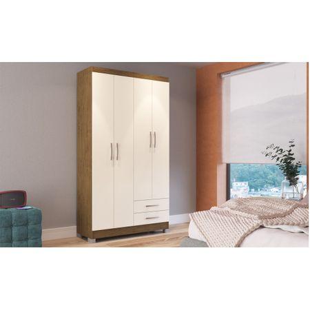 Guarda-Roupa-Solteiro-4-Portas-2-Gavetas-Treviso-104-Com-Espelho-E-Com-Pes-Moveis-Doripel-Off-White